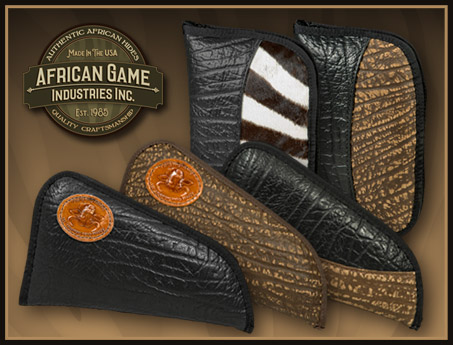 Genuine African Hide and Leather Handgun Cases