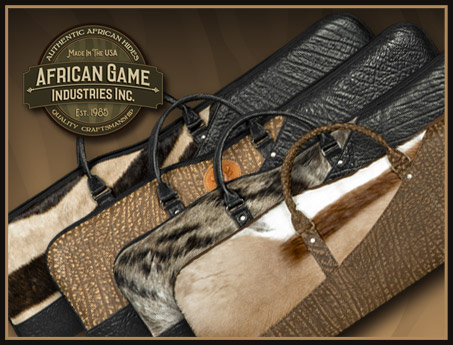 Handmade African Hide Rifle Cases, Shotgun Cases, Slings and more...