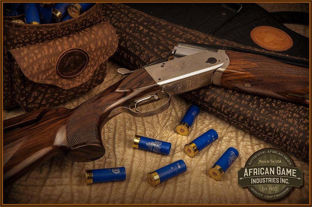 Custom Cape Buffalo Shotgun Shell Pouches and Shotgun Cases